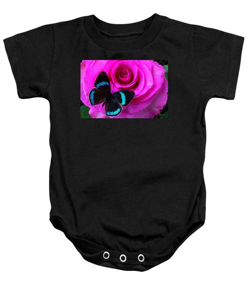 Pink Rose And Black Blue Butterfly Baby Onesie