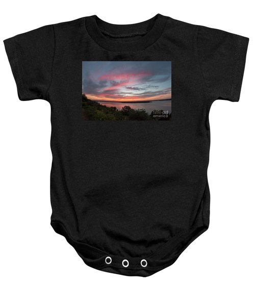 Pink Skies And Clouds At Sunset Over Lake Travis In Austin Texas Baby Onesie