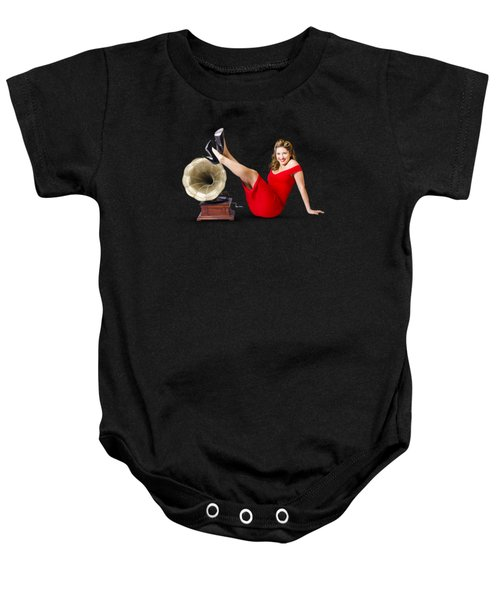 Baby Onesie featuring the photograph Pinup Girl In Red Dress Playing Classical Music by Jorgo Photography - Wall Art Gallery