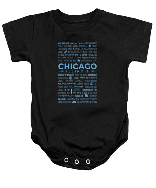 Places Of Chicago Blue On Black Baby Onesie by Christopher Arndt