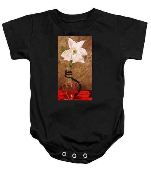 Poinsettia In Pitcher  Baby Onesie