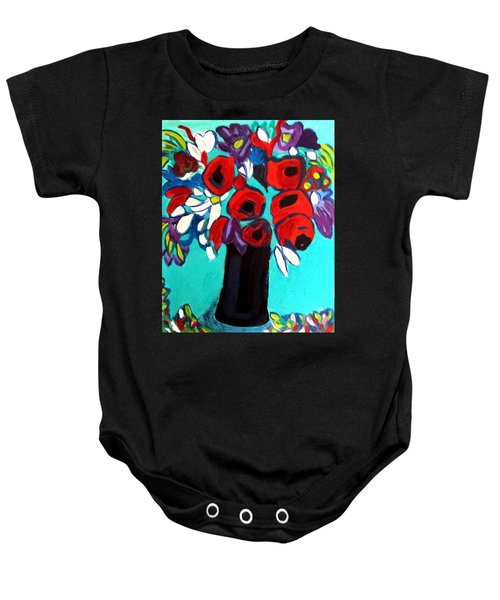 Poppies Red Baby Onesie