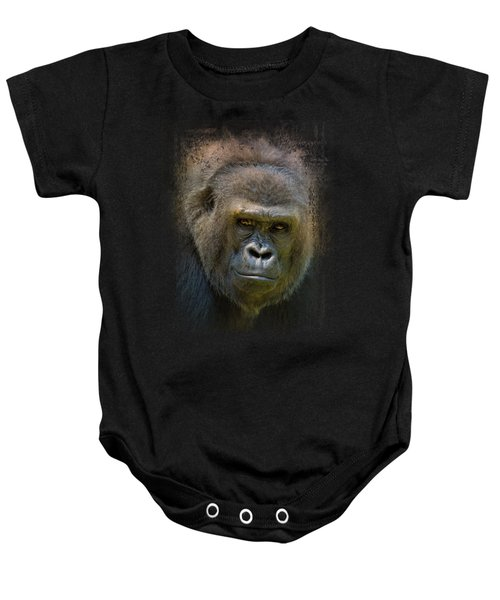 Portrait Of A Gorilla Baby Onesie by Jai Johnson
