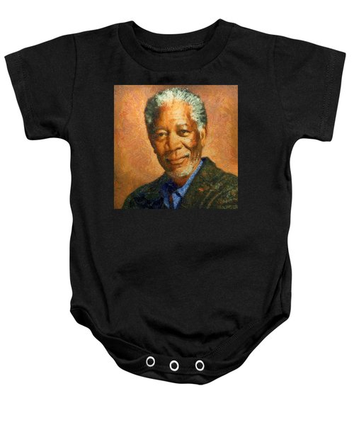Baby Onesie featuring the digital art Portrait Of Morgan Freeman by Charmaine Zoe