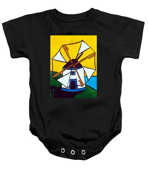Baby Onesie featuring the painting Portuguese Singing Windmill By Dora Hathazi Mendes by Dora Hathazi Mendes