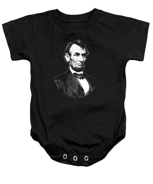 President Abraham Lincoln Graphic - Black And White Baby Onesie
