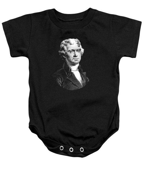 President Thomas Jefferson - Black And White Baby Onesie