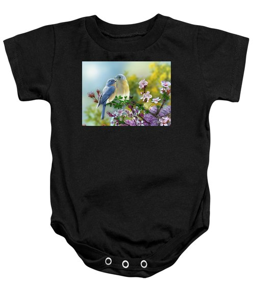 Baby Onesie featuring the mixed media Pretty Blue Birds by Morag Bates