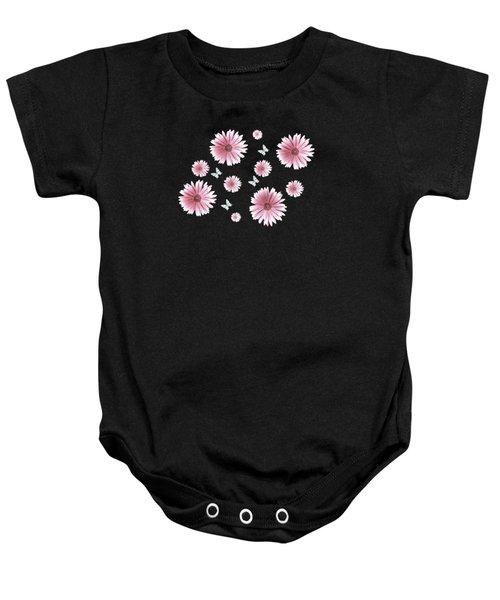 Pretty Pink Flowers On Black Baby Onesie