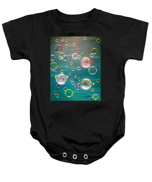 Puffer Fish Bubbles Baby Onesie