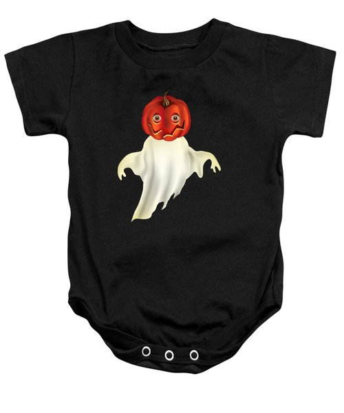 Pumpkin Headed Ghost Graphic Baby Onesie