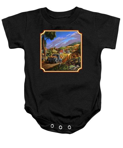 Pumpkins Farm Folk Art Fall Landscape - Square Format Baby Onesie by Walt Curlee