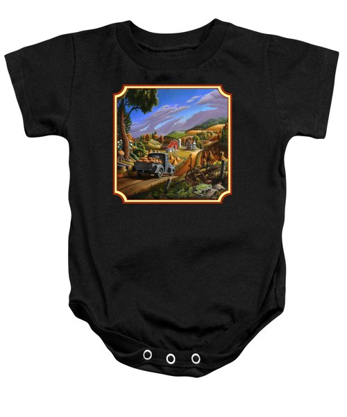 Pumpkins Farm Folk Art Fall Landscape - Square Format Baby Onesie