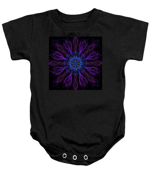 Baby Onesie featuring the photograph Purple Blue Kaleidoscope Square by Adam Romanowicz