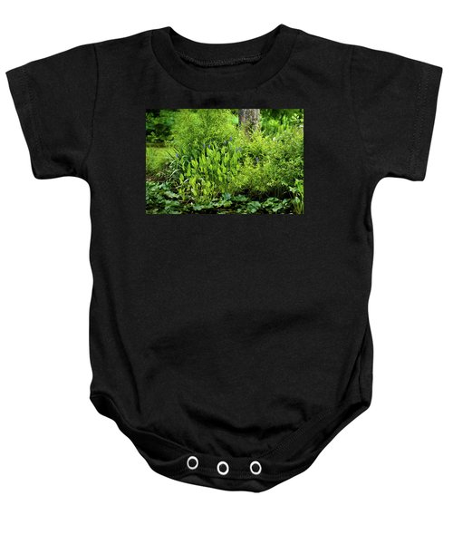 Purple Flowers By The Ponds Edge Baby Onesie