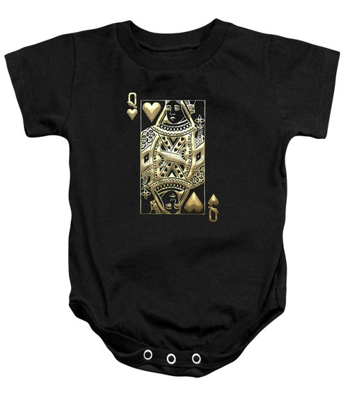 Queen Of Hearts In Gold On Black Baby Onesie