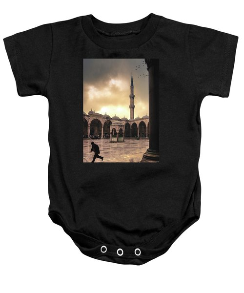 Rain At The Blue Mosque Baby Onesie