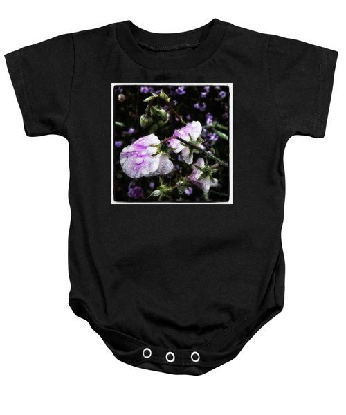 Baby Onesie featuring the photograph Rain Kissed Petals. This Flower Art by Mr Photojimsf