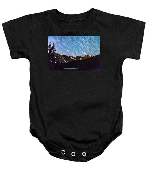 Raining Stars Over Longs Lake And The Indian Peaks Baby Onesie