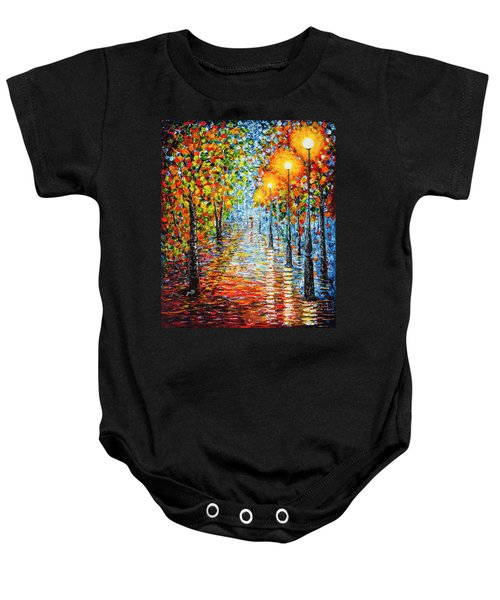 Baby Onesie featuring the painting Rainy Autumn Evening In The Park Acrylic Palette Knife Painting by Georgeta Blanaru