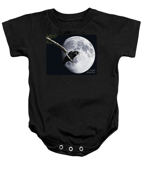 Raven Barking At The Moon Baby Onesie
