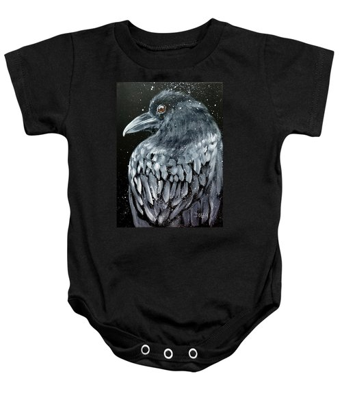 Raven In Snow Baby Onesie