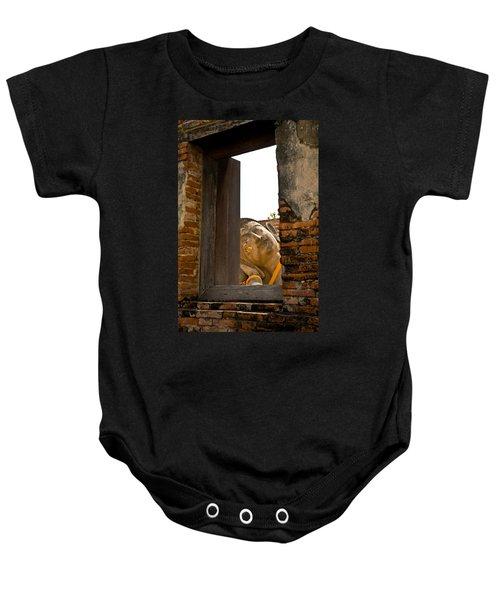 Reclining Buddha View Through A Window Baby Onesie