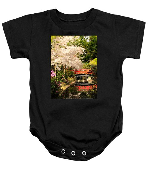 Red Bridge Reflection Baby Onesie