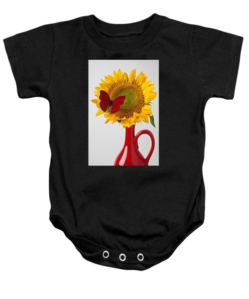 Red Butterfly On Sunflower On Red Pitcher Baby Onesie