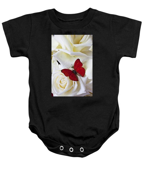 Red Butterfly On White Roses Baby Onesie