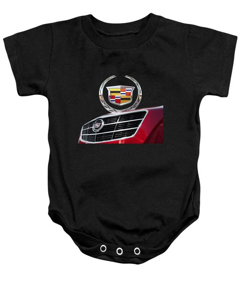 Red Cadillac C T S - Front Grill Ornament And 3d Badge On Black Baby Onesie by Serge Averbukh
