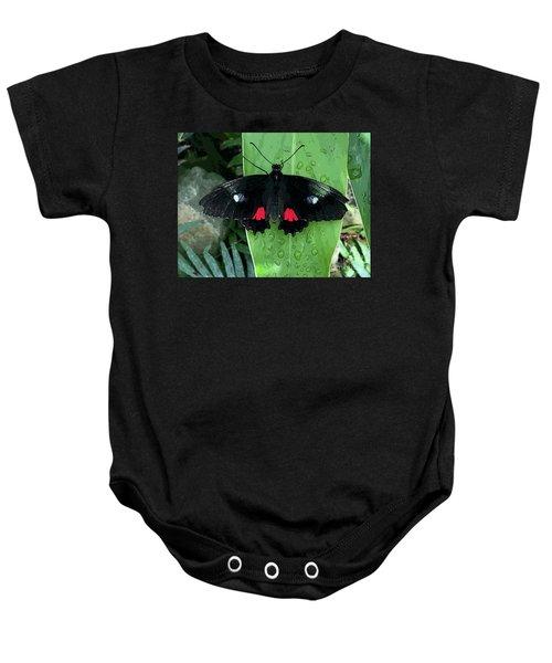 Red Design On Wings Baby Onesie