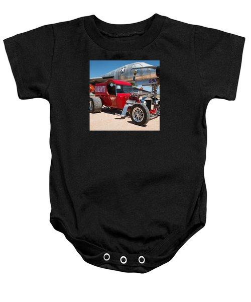Red Hot Rod Next To Vintage Airplane  Baby Onesie