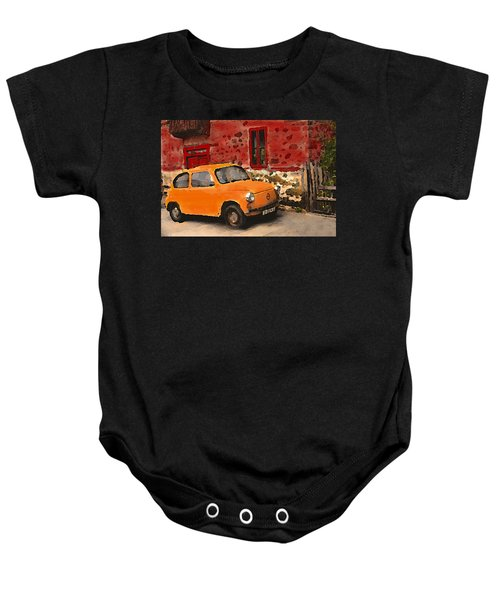 Red House With Orange Car Baby Onesie