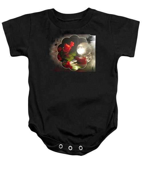 Red Rose And Globe  Baby Onesie
