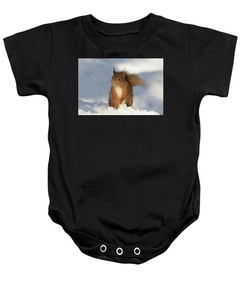 Red Squirrel In The Snow Baby Onesie