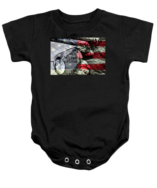 Red White And Jeep Baby Onesie