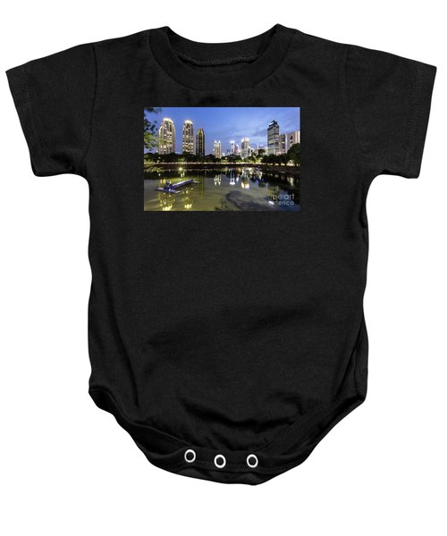 Reflection Of Jakarta Business District Skyline During Blue Hour Baby Onesie