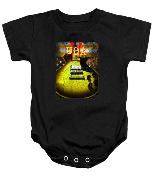 Baby Onesie featuring the photograph Relic Guitar Music Patriotic Usa Flag by Guitar Wacky