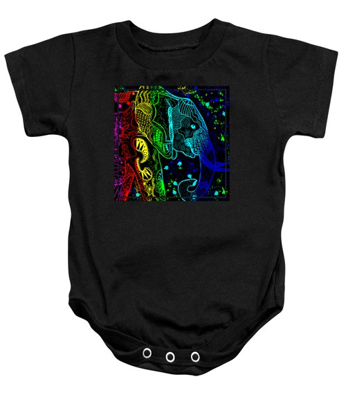 Rainbow Zentangle Elephant With Black Background Baby Onesie