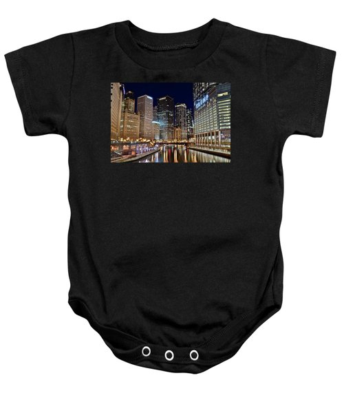 River View Of The Windy City Baby Onesie by Frozen in Time Fine Art Photography