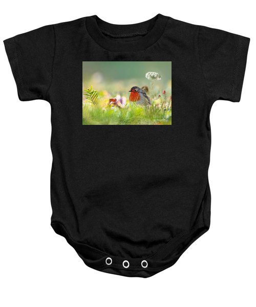 Baby Onesie featuring the mixed media Robin Red Breast by Morag Bates