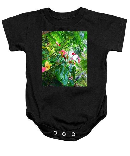 Robins Garden With Anthuriums And Ferns Baby Onesie