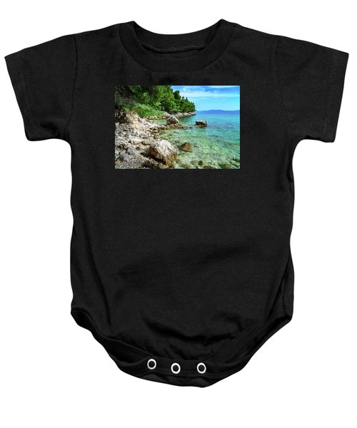 Rocky Beach On The Dalmatian Coast, Dalmatia, Croatia Baby Onesie