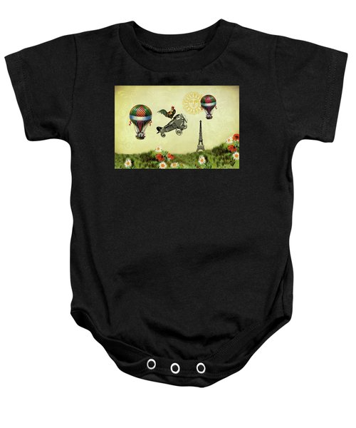 Rooster Flying High Baby Onesie