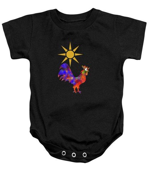 Rooster Pattern Baby Onesie