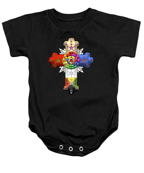 Rosy Cross - Rose Croix On Black Canvas Baby Onesie