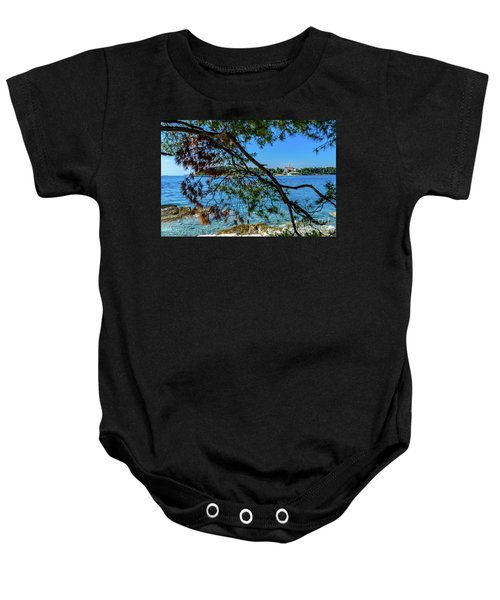 Rovinj Old Town Accross The Adriatic Through The Trees Baby Onesie