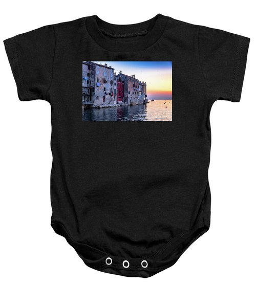Rovinj Old Town On The Adriatic At Sunset Baby Onesie