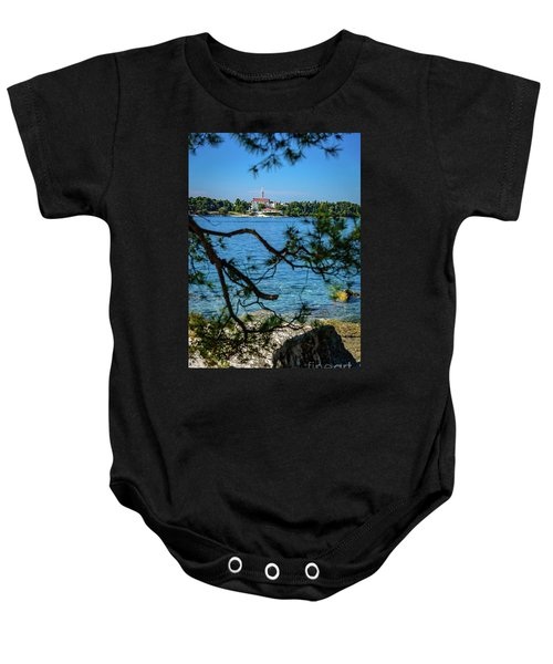 Rovinj Seaside Through The Adriatic Trees, Istria, Croatia Baby Onesie
